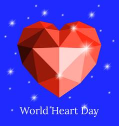 world heart day 29 september heart of origami vector image