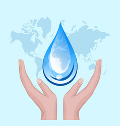 World water day with hand holding drop on world vector