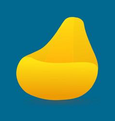 Yellow beanbag modern soft fluffy chair icon vector