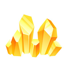 Yellow crystals on a white vector