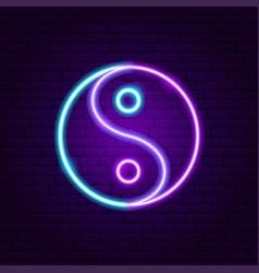 yin yang neon sign vector image
