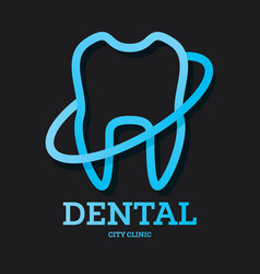 dental clinic logo with blue tooth vector image