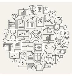 Finance Business Money Line Icons Set Circular vector image vector image