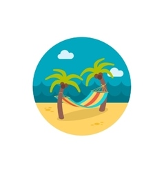 Hammock with palm trees on beach icon Vacation vector image vector image