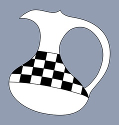 Jug silhouette decorated with checkered pattern vector image vector image