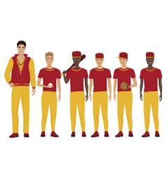 the young baseball players vector image
