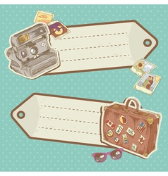 Travel discount stickers with bag and photo camera vector image vector image