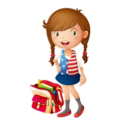 a girl with school bag vector image