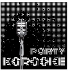 Background with microphone for karaoke party vector