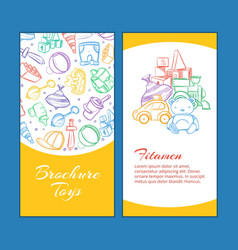 children brochure pages with doodle kids vector image vector image