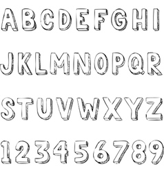 Hand drawn trendy letters alphabet typography on vector image vector image
