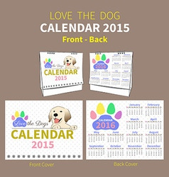 LOVE THE DOG CALENDAR 2015 COVER vector image vector image