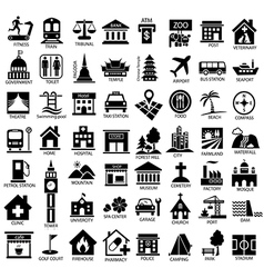 map symbol icon set black vector image vector image