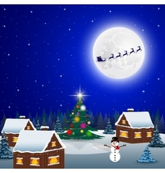 Night christmas forest landscape Santa Claus vector image vector image