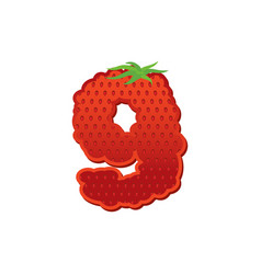 number 9 strawberry font red berry lettering nine vector image