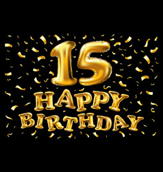 15 years anniversary celebration with gold ribbon vector image
