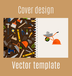 cover design with construction pattern vector image vector image