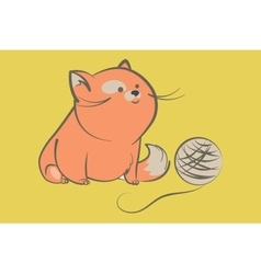 fat red cat with ball of yarn vector image