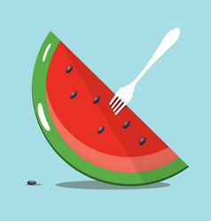 melon slice with white fork on blue background vector image