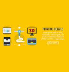 printing 3d details banner horizontal concept vector image