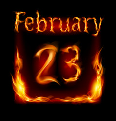 twenty-third february in calendar of fire icon on vector image