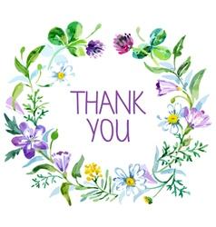 Watercolor thank you card vector image vector image