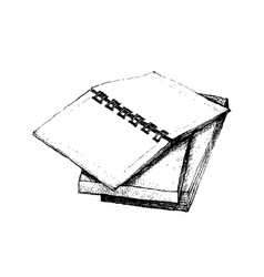 Hand drawn open notebook on stack of books vector