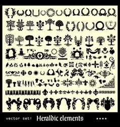 heraldic elements floral vector image