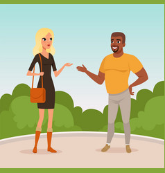 young blond woman and bearded afro-american man vector image vector image