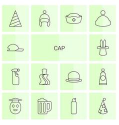 14 cap icons vector