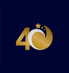40 years anniversary star dash gold celebration vector