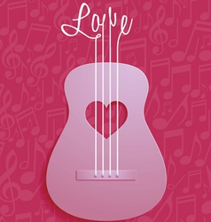 Abstract Guitar and Love Symbol with Notes vector