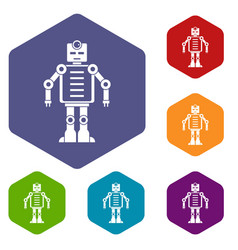 Artificial intelligence robot icons set hexagon vector