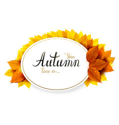 Autumn banner with lettering on a oval background vector