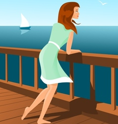 Beautiful woman on a seaside vector image vector image