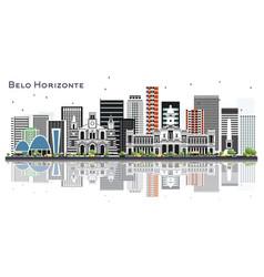 Belo horizonte brazil city skyline with color vector