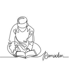 boy in fez reading koran vector image