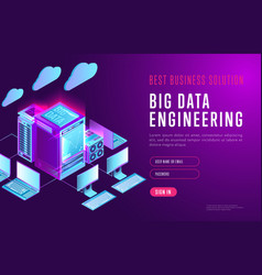 Bright design of big data webpage vector