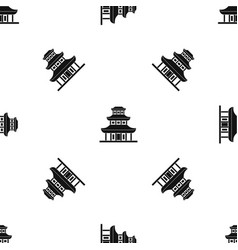 buddhist temple pattern seamless black vector image
