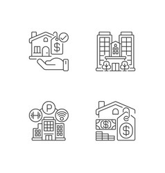 Business property pixel perfect linear icons set vector