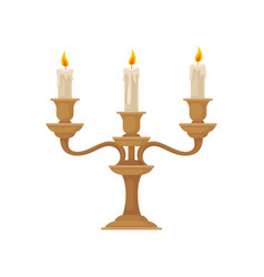 Candelabrum with three burning candles with vector