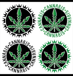 Cannabis Marijuana hemp leaf symbol stamps vector