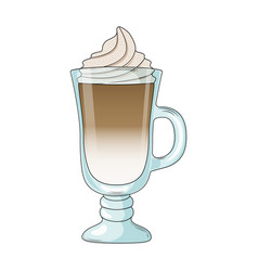 Cappuccino in glass with whipping cream vector