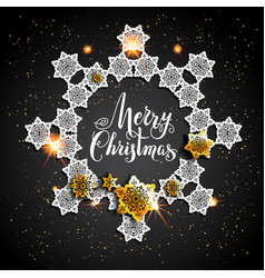 card with gold snowflakes on black background vector image