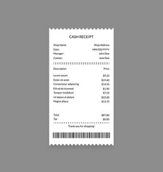 cash register receipt on a grey vector image