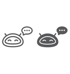Chatbot line and glyph icon technology and bot vector