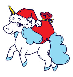 christmas unicorn with a santa hat and a bag of vector image