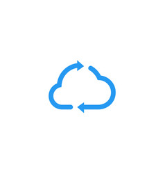 Cloud update recycle arrow logo icon vector