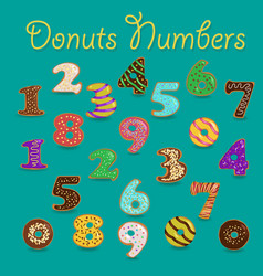 colorful donuts numbers vector image