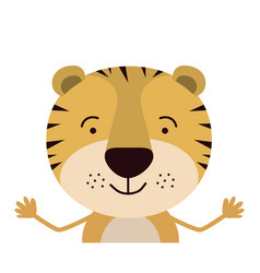 Colorful half body caricature of cute tiger vector